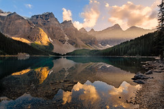Moraine Lake Evening (Heather_K_Jones) Tags: trees sunset lake canada mountains reflection landscape evening glacier alberta lakelouise morainelake canadianrockies goldenlight heatherkjones
