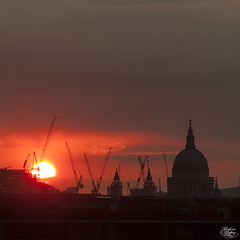 St Pauls Cathedral (Umbreen Hafeez) Tags: city uk blue roof light sunset england building london st skyline architecture night skyscraper dark twilight europe long exposure cityscape cathedral outdoor dusk low pauls hour wharf gb canary complex