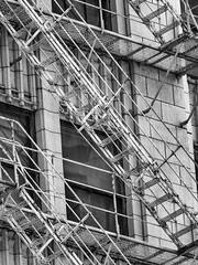 Chicago fire escape (Cat Starr) Tags: windows bw usa chicago stairs blackwhite illinois fireescape copyrightcatherinestarr