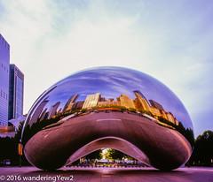 Chicago2016CloudGateMorning-473 (wanderingYew2) Tags: sculpture chicago reflection 120 film mediumformat illinois downtown milleniumpark publicart cloudgate filmscan