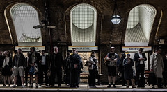 The World's A Stage... (Peter Murrell) Tags: london lowlight waiting transport platform commuting londonunderground bakerstreet mobilephones londontransport bakerstreetstation