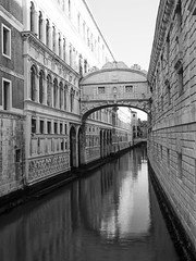 Bridge of sighs (Nigel Wallace1) Tags: venice blackandwhite italy holiday water buildings hotel boat olympus tourists explore gondola