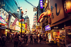 Osaka Sunset (Jon Siegel) Tags: street light sunset people motion japan architecture night japanese evening design nikon neon candid 14 culture sigma busy osaka 24mm 24mmf14 d810 sigma24mmf14art