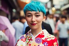 Anna (Jon Siegel) Tags: pink blue red portrait woman girl beautiful smile smiling fashion japan temple japanese 50mm nikon kyoto colorful afternoon gorgeous style yukata lipstick 12 nikkor bluehair stylish japanesefashion d810 nikon50mmf12 nikkor50mmf12ais