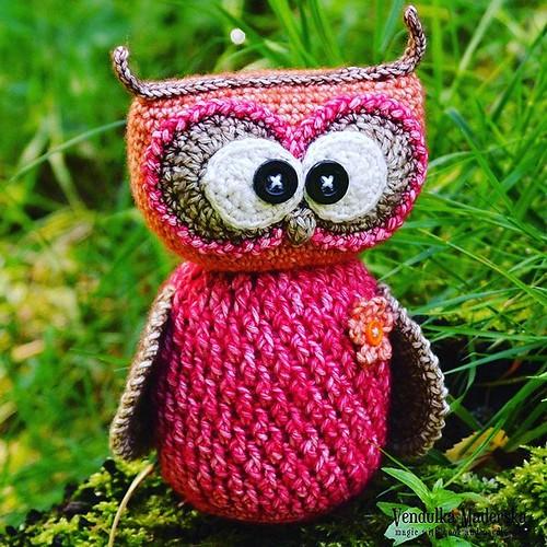 My sweet #owl in new colors combo 😀 #vendulkam #amigurumi #crochetowl  #crochet #crocheteveryday #crochetaddict #crochetlove #crochetlover #patternistesting #instacrochet #crochetdesigner #crocheting #crochettoys #handmade #handmadeisbest