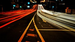 Playing in traffic. 187/366 (jenniferdudley) Tags: longexposure nightphotography light trafficlights cars night nikon traffic streetlights streetscape day187366 mynikonlife nikond750 366the2016edition 3662016 5jul16