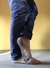 Dirty Garage Feet (silvpix) Tags: man guy barefoot barefeet dirtyfeet dirtysole