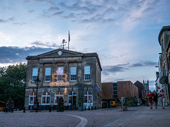 Long May She Reign (Silver Machine) Tags: andover hampshire guildhall towncentre queenelizabethii90thbirthdaycelebration bluehour neonlights lumixg5 lumix lumixg lumixg20mmf17