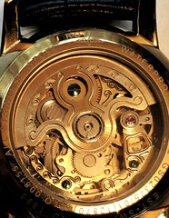 (dazmo862) Tags: black leather gold switzerland timepiece winding wristwatch clockwork jewels cogs rotary waterproof