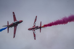 Red Arrows syncro pair (Latitude53 Photography) Tags: red its flying force flat display hawk flag aircraft smoke air royal best airshow gb arrows reds raf aerobatics the cosford
