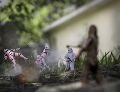 Chewie doing work (Vimlossus) Tags: toy starwars action stormtroopers battle chewie figures chewbacca laster
