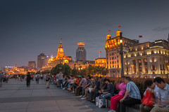 The Bund - (stevefge) Tags: china shanghai bund people night lit architecture reflectyourworld