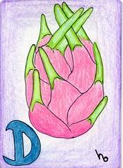 D is for Dragonfruit (Manurnakey) Tags: atc fruit vegetable alphabet handdrawn