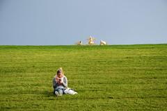 Gloriette looming ... (rainbowcave) Tags: schnbrunn vienna wien park girl lawn looming horizont rasen gloriette