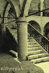 A bygone era (elcoprouk) Tags: shadow bw monochrome architecture stairs turkey photographer outdoor cyprus archway et blanc noire