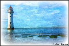 New Brighton Lighthouse, The Wirral, UK (mancunian61) Tags: newbrighton wirral sea water lighthouse blue watercolour painterly