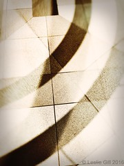 Curved Shadows (lesliegill) Tags: bw building japan tokyo shadows floor doubleexposure curves july sunny urbanexploration iphone 2016 iphoneography