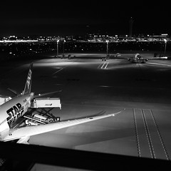 Airport in the night (Assy2015) Tags: city tokyo street bw leica blackwhite summicron28mm monochrome light japan leicammonochrome