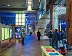 The Interior of  Antwerp Central Station (Panasonic Lumix GM5 & Panasonic 12-32mm Pancake Pancake Zoom) (markdbaynham) Tags: antwerp antwerpen station rail interior decor belgium panasonic gm5 csc evil mirrorless mft m43 m43rd micro43 gare 1232mm pancake zoom people colour lumix lumixer