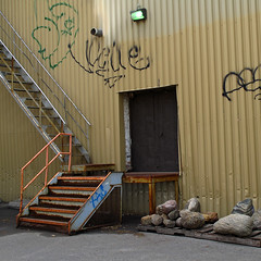 (Torganiel) Tags: door stairs square graffiti industrial decay montreal line g10 torganiel