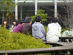 Sitting and relaxing (seikinsou) Tags: roof japan shop garden bench relax spring peace departmentstore rest osaka hankyu