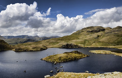 Angle Tarn One (mjb868) Tags: mountains clouds walking landscape nationalpark scenery solitude lakes lakedistrict rocky trail cumbria fells mountaineering vista peaks tarn rugged rambling moorland d7000 mjb868