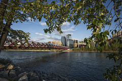 Peace Bridge Skyline (Will Christensen) Tags: bridge red canada calgary water skyline river alberta bow calatrava peacebridge willchristensen