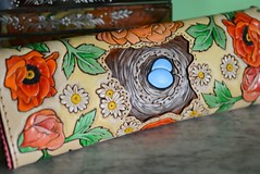 The Best Nest Clutch, Back (sunnyrisingleather) Tags: roses bird daisies nest ranunculus poppies eggs handcrafted handstitched suede scalloped lined tooledleather sunnyrising