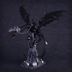 Nazgul on Fell Beast (captainsmog) Tags: statue skeleton chains wings dragon lego peak lotr lordoftherings vignette claws nazgul sauron witchking wyvern ringwraith moc ucs fellbeast cuusoo