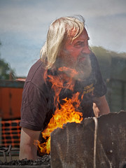 Don't get your beard in a blaze... (Alan10eden) Tags: summer horse hot canon beard fire shoe is warm iron day flames sunny heat northernireland blacksmith bellows 70200 monger ulster f40 forestservice 2013 60d gosfordforestpark armaghshow