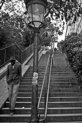 Walking down (milosnar) Tags: blue paris stairs loneliness down montmartre escaleras