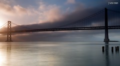 Bay Bridge San Francisco (universini) Tags: sanfrancisco california city longexposure morning bridge sea sky sun slr colors canon landscape sfo pacificocean baybridge slowshutter bayarea canon5d sini mandya leefilters universini siddegowda nidagatta