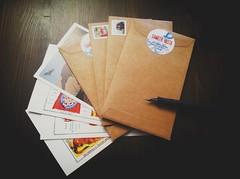 Correspondence. (vasta) Tags: 7s8v6 spring miscellany postcards letters envelopes stamps stickers addresslabels correspondence pen fountainpen lamy writingtofriends junction toronto stationery snailmail sendmoremail