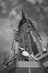 Top of the Tower (Leanne Boulton) Tags: new york city nyc sky urban bw usa white black building monochrome architecture skyscraper island cityscape state manhattan empire