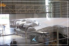 Airbus A380 wings wrapped in Tufcoat bespoke shrink wrap covers