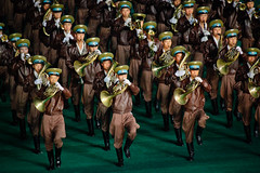 Marching horns (Lil [Kristen Elsby]) Tags: travel musician music topf25 musicians army asia stadium military horns korea multiples editorial horn performers performer topv3333 frenchhorn northkorea pyongyang frenchhorns eastasia dprk travelphotography arirang militaryofficers hornplayers canon70200f28l canon7020028l democraticpeoplesrepublicofkorea massgames chosnminjujuiinminkonghwaguk maydaystadium dprofkorea militarymusician canon5dmarkii arirangmassgames