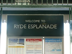 Retro signage at Ryde Esplanade station (Richard and Gill) Tags: station sign railway trains retro isleofwight signage font stagecoach iow ryde gillsans rydepier islandline rydeesplanade ryderail