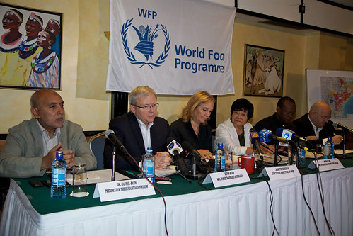 Mr Rudd at a press conference in Nairobi Kenya.