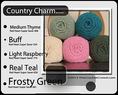 Country-Charm (The Crochet Crowd) Tags: color mikey yarn collections redheart colorwheel combo divadan colorcolor supersaver combitions crochetcrowd