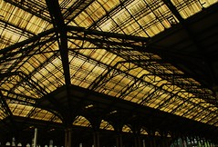Liverpool Street Station..... (Phillloyd fotographie) Tags: city roof black building london station yellow liverpool design place space victorian meeting trains structure virgin cover timetable londonmidland canonxsi
