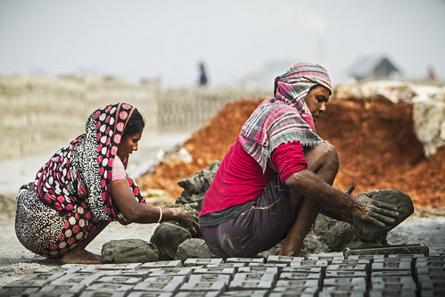 Man and wife making bricks together in Khulna, Bangladesh. Photo by Felix Clay/Duckrabbit, 2013.