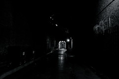 Literally a vanishing point (linspiration01) Tags: life road street city uk england urban bw white black london dark point lights south united bank kingdom tunnel sharp rainy wires vanishing murky