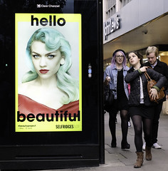 Beauty Project (stevedexteruk) Tags: hello street uk people bus london beautiful westminster beauty project john advertising three lewis billboard clear stop selfridges oxford channel 2014