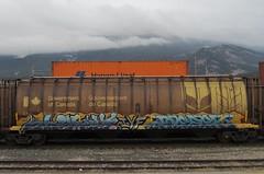 PERVE, DEFEX (YardJock) Tags: railroad art graffiti spraypaint boxcar piece hopper freighttrain moniker benching paintedsteel benchreport