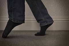 Day 112 (Michael Rozycki) Tags: portrait feet wall night self canon project point carpet sock toes personal jeans midnight 7d late tiptoe 1755 skirting