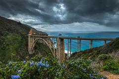 Bixby Blues (Darvin Atkeson) Tags: ocean california bridge blue sea seascape storm landscape monterey highwayone spring pacific scenic bigsur carmel vista wildflowers bixbybridge darvin atkeson darv liquidmoonlightcom