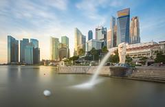 Singapore CBD (NaphakM) Tags: sunrise singapore cbd merlion