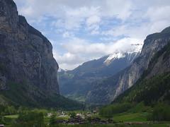 Lauterbrunnen valley with paragliders (lvalgaerts) Tags: mountain landscape switzerland waterfall spring hike valley bern lauterbrunnen paragliders berneroberland