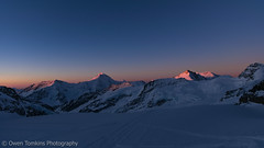 Aletschhorn Sunrise (NakedMountain) Tags: morning blue orange snow mountains alps cold ice beautiful sunrise dawn switzerland spring skiing magenta peaceful calm adventure climbing alpine drama alpenglow jungfrau skitouring berneseoberland alpinism aletschhorn