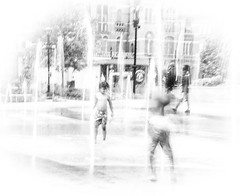 Hot Fun (Cathy Donohoue) Tags: playing water children fountains blurs unsharp washingtonpark cincinnatiohio cathydonohouephotography